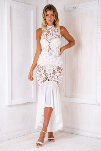 Maddy lace evening dress/bodysuit - White-SALE
