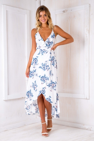 Sandy holiday maxi - White/Blue floral