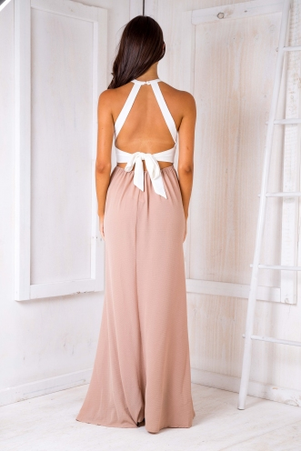 Rosie crepe maxi dress - White/Dark Beige