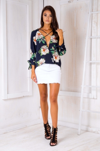 Penni blouse - Navy/Lime green floral