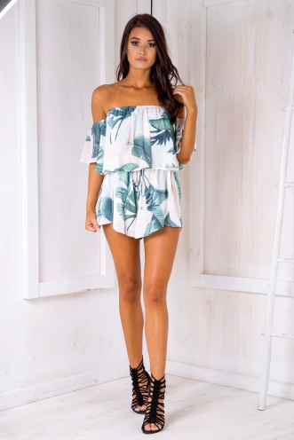 Laura playsuit - White Palm