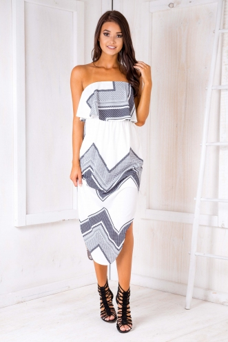Free as a bird maxi dress - White/Ink