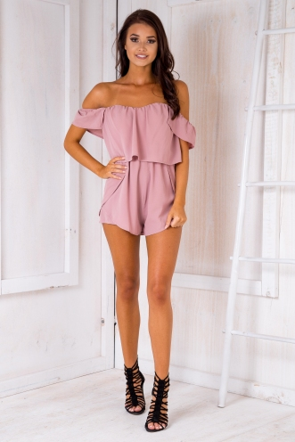 Tamzin strapless playsuit- Dusty pink