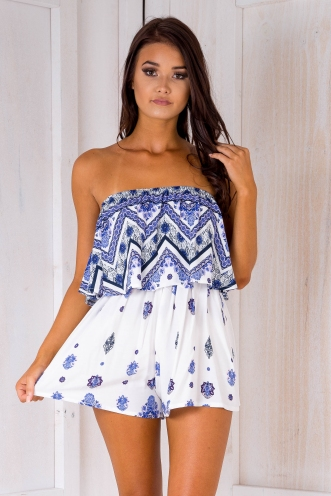 Ashley playsuit -Blue/Purple