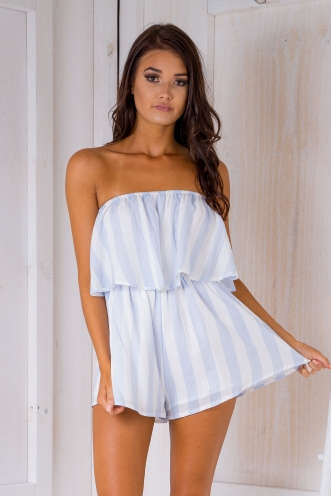 Ashley playsuit -White/Light Blue