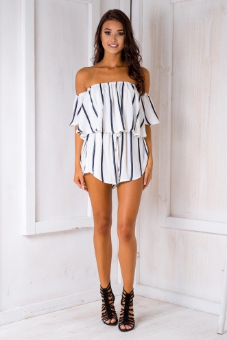 Laura playsuit - Beige/Navy stripe