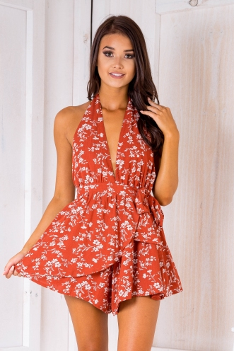 Larissa playsuit- Rust floral