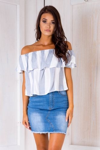 Kyle crop top - Washed Blue/Grey stripe