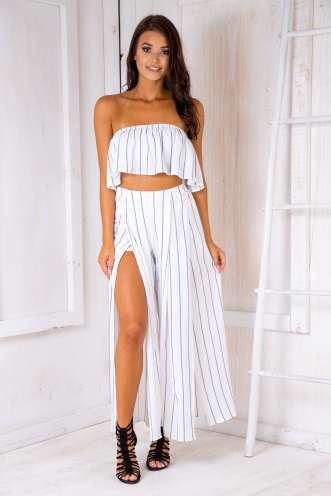 Sugar plum crop top - White stripe
