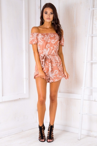 Reagan playsuit - Terracotta print