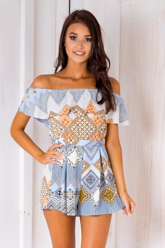 Laelia playsuit -Blue/Orange