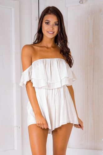 Daisy playsuit- Beige/White