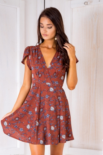 Milly wrap dress - Vintage Brown/Blue