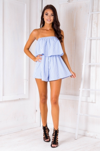 Ashley playsuit -Small stripes-White/Blue