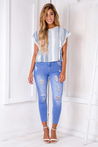 Lou Lou top - White/Blue