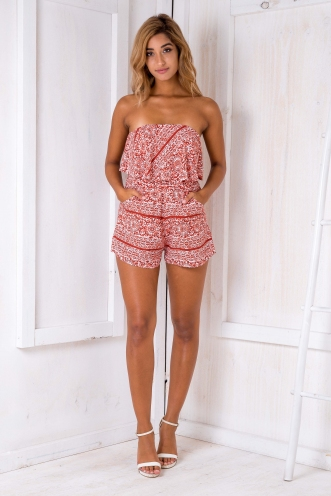 Kate strapless playsuit- Rust print