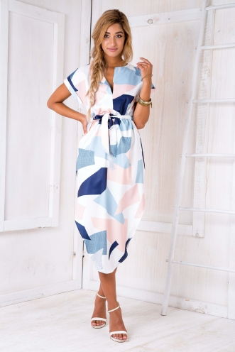 Pippa dress- Pastel block print