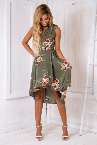 Cyra floral dress - Khaki