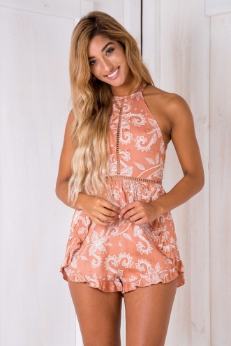 Eliza playsuit - Terracotta print
