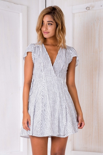 Milly wrap dress - White/Black dot-SALE