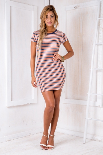 Hazel dress - Rust stripe