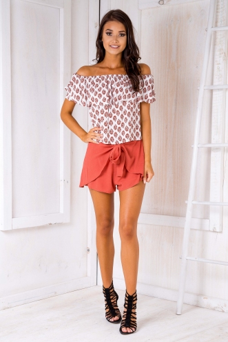 Kyle crop top - Red/White