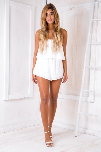 Ashley playsuit - White/White stripe