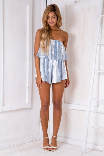Ashley playsuit -White/Blue