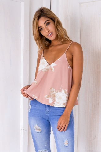 Electra top - Light Tan floral
