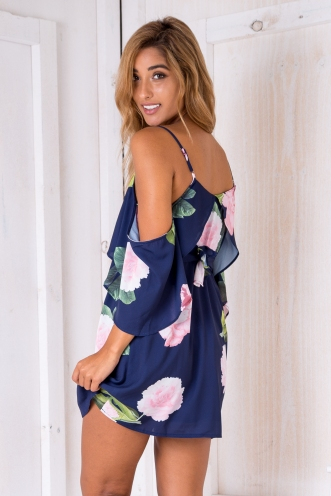 Mexico nights dress - Navy/Pink floral
