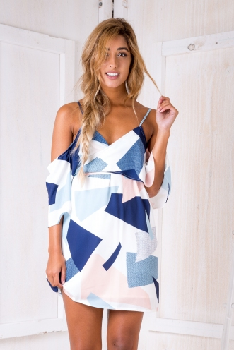 Mexico nights dress - White/Navy/Pink