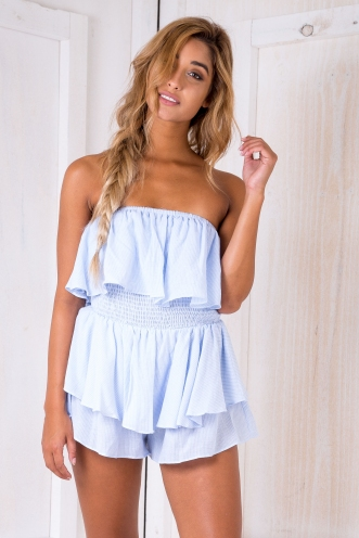 Beautiful soul playsuit - Light blue/ stripe