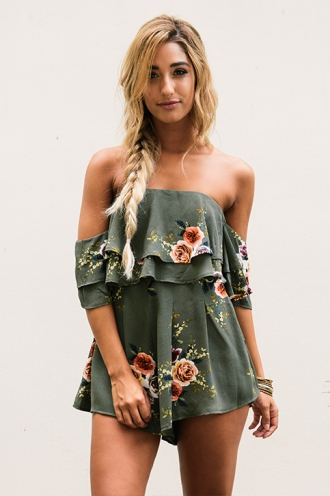 Ainsley playsuit- Khaki floral