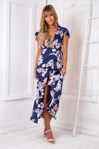 Born free maxi dress - Navy floral