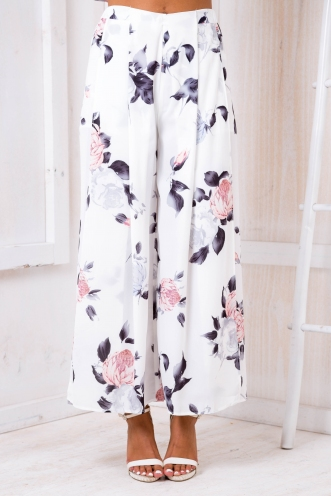 Sugar plum pants- White/Pink-grey floral