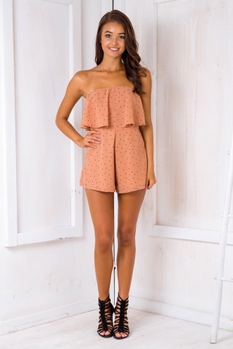 Kate strapless playsuit - Terracotta Spot