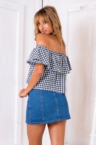 Kyleigh crop top - Black/white check