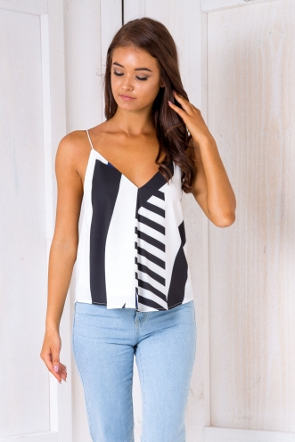 Naomi swing top - Black/white/navy