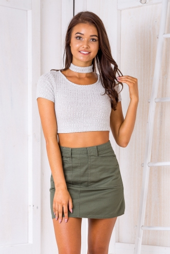 Kaitlyn collar crop top - Light Grey