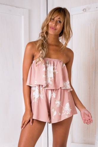 Ashley playsuit -Beige Print