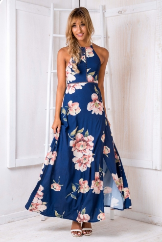 Rosie floral maxi dress - Navy/Vintage pink