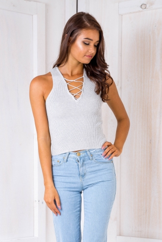 Tamarekia ribbed top - Grey