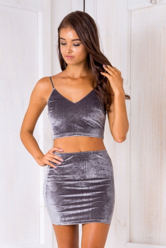 Zahara crop top - Grey Velvet
