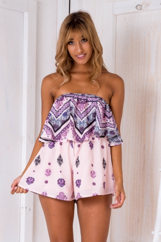 Ashley playsuit - Pink/purple print