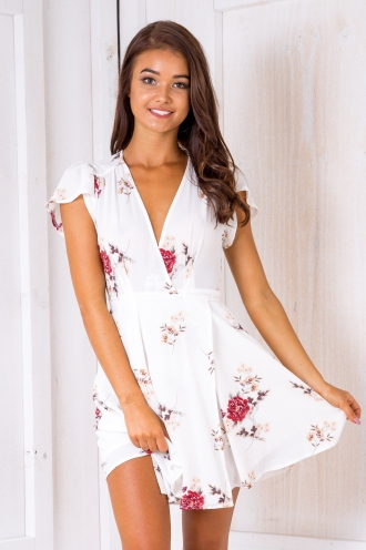Milly wrap dress - White/Vintage floral