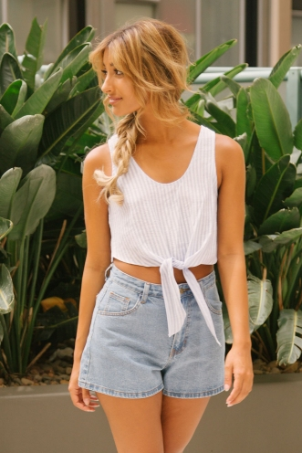 Kiki crop top - Blue/White stripe