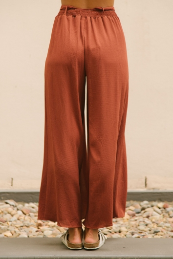 Paris crepe pants - Burnt brown