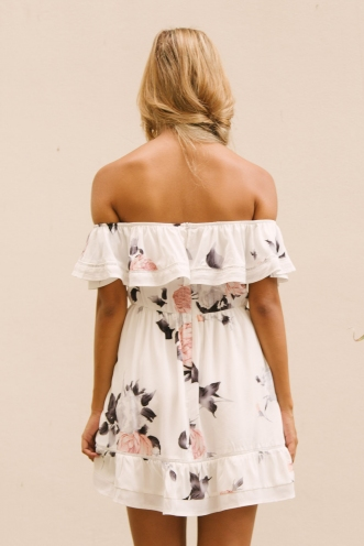 Holly dress - White/grey-pink floral