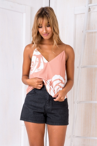 Naomi swing top - Caramel/White print