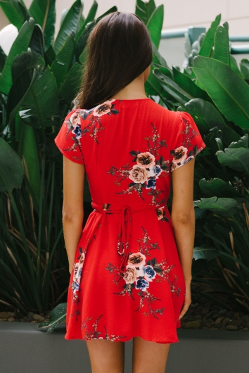 Milly wrap dress - Red/Vintage floral
